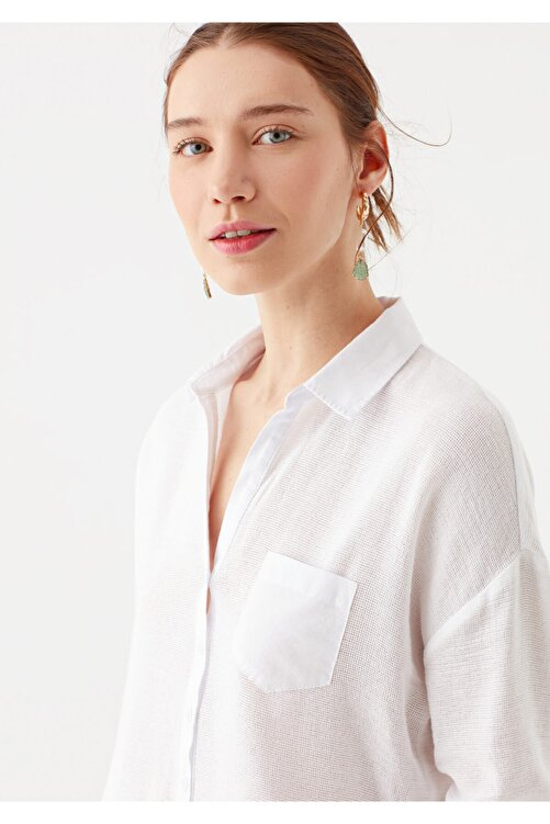Mavi Cep Detaylı Beyaz Bluz 120567-20814 2