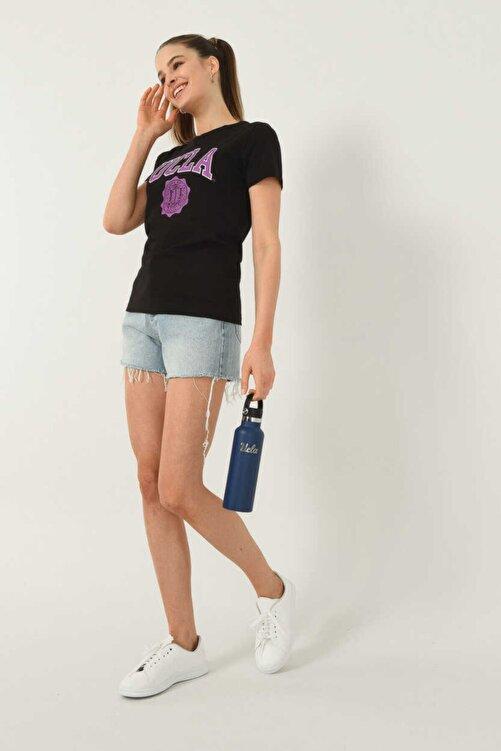 UCLA Kadın  Carmel Siyah Bisiklet Yaka Baskılı T-shirt 1