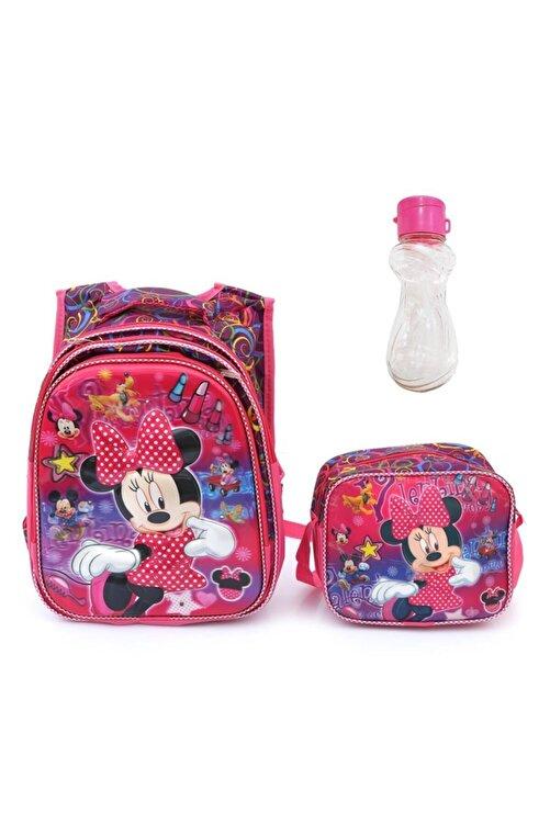 Mashotrend Işıklı Rujlu Minnie Mouse Baskılı Çanta Beslenme Suluk Okul Çantası Mini Fare Çanta 1