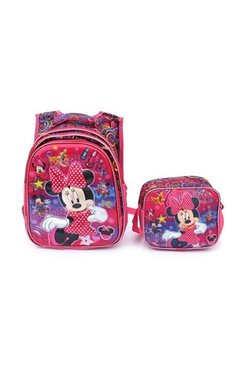 Mashotrend Işıklı Rujlu Minnie Mouse Baskılı Çanta Beslenme Suluk Okul Çantası Mini Fare Çanta 2