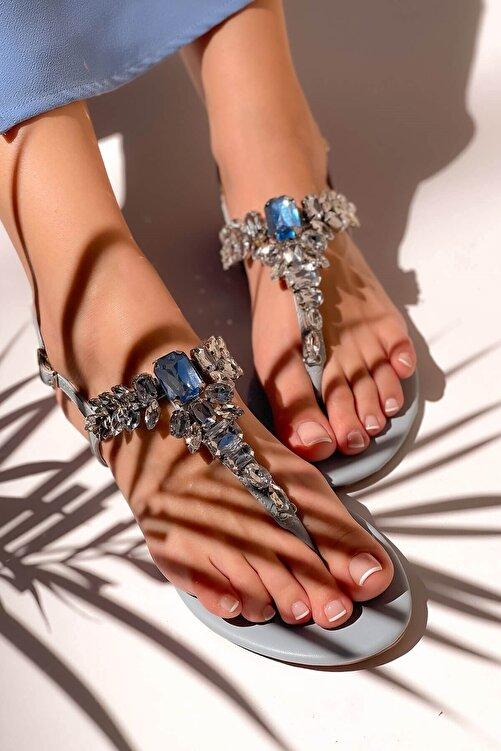MaiaMarca Kadın Mavi Taşlı Sandalet 1