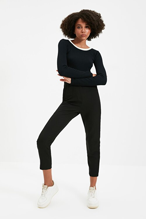 TRENDYOLMİLLA Siyah Yüksek Bel Pensli  Pantolon TWOSS20PL0515 2