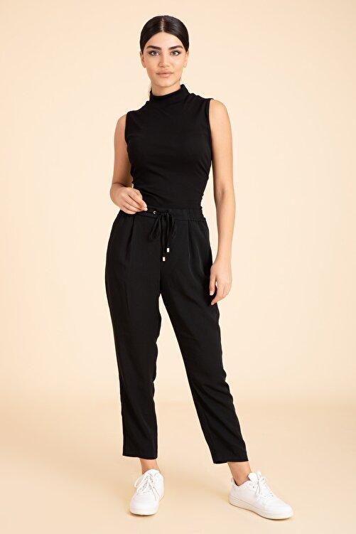 M2K Kadın Siyah Beli Lastikli Havuç Kesim Pantalon 2