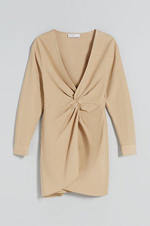 Bershka Uzun Kollu Düğümlü Pamuklu Keten Elbise 2