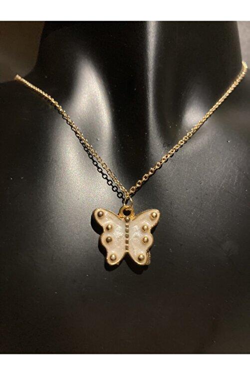 muptejewelry Kadın Beyaz Kelebek Kolye 1