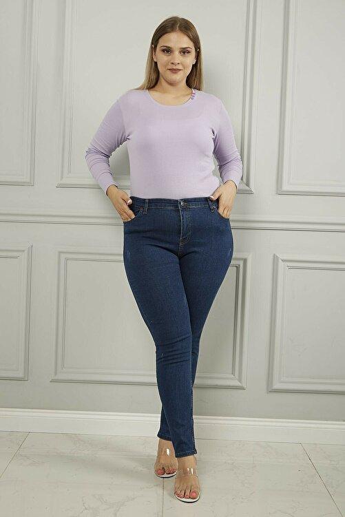 Ramrod Kadın Koyu Mavi Büyük Beden Yüksek Bel Tırnaklı Toparlayıcı Jeans 1