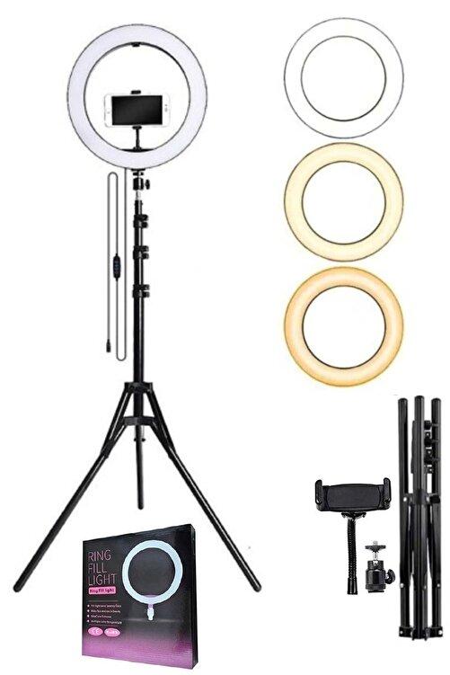 LRSM Led Işıklı Ring Light Tripod Adaptörlü Selfie Makyaj Işığı Youtuber & Kuaför Çekim Işığı 1