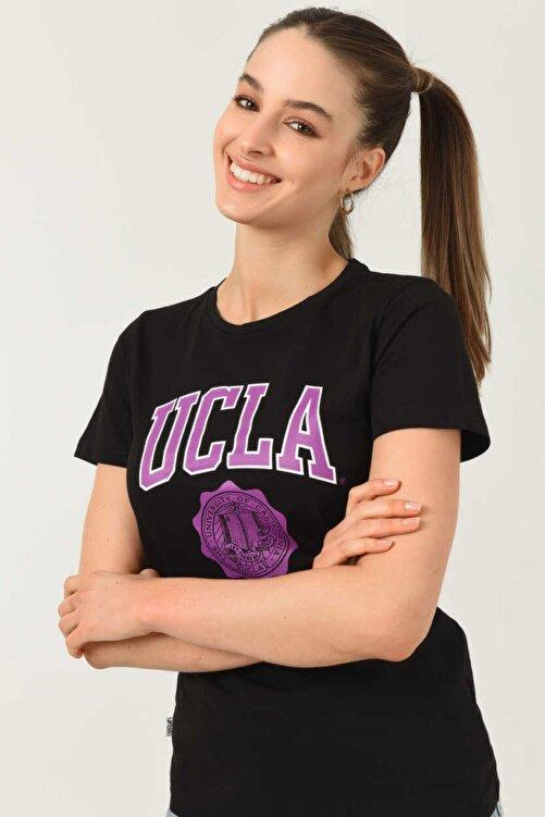 UCLA Kadın  Carmel Siyah Bisiklet Yaka Baskılı T-shirt 2