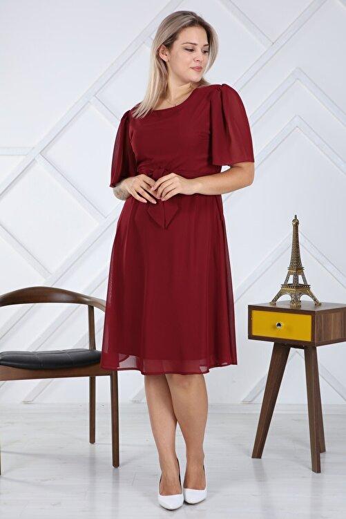 apsen Kadın Büyük Beden Bağlama Detaylı Şifon Elbise 4257/110 1
