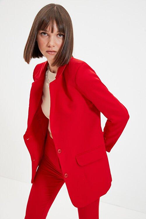 TRENDYOLMİLLA Kırmızı Düğmeli Blazer Ceket TWOAW22CE0165 2