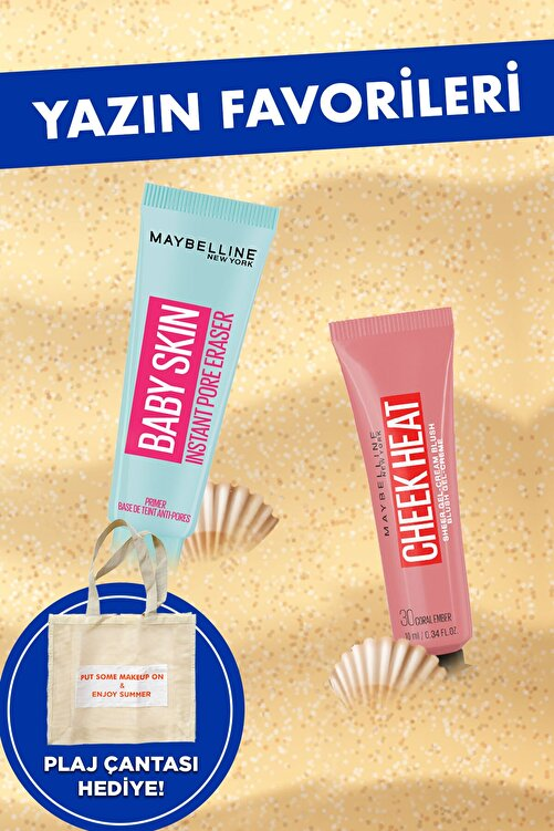 Maybelline New York Baby Skin Gözenek Gizleyici Makyaj Bazı &Cheek Heat Likit Allık 30 Coral Ember Şeftali Makyaj Seti 1