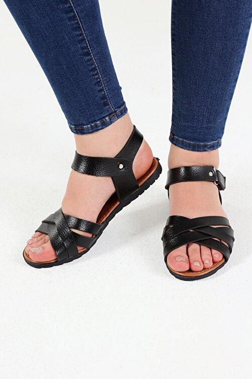 Beyond Siyah Deri Sandalet 1