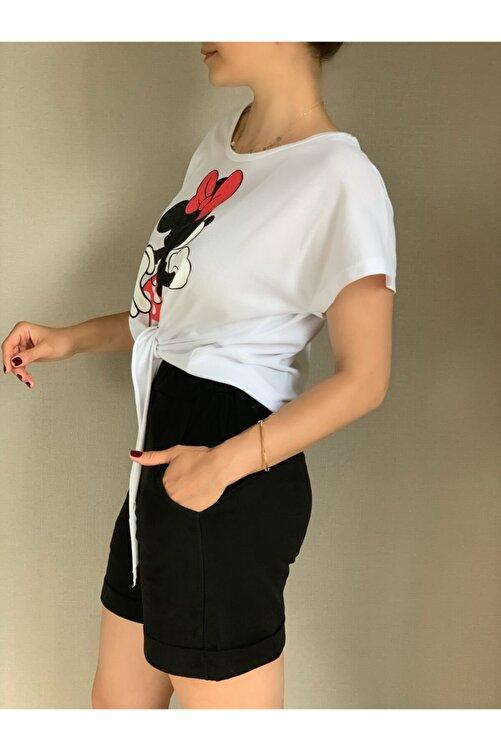 MAIO TASARIM Kadın Siyah Ve Beyaz Mickey Mouse Baskılı Takım 2