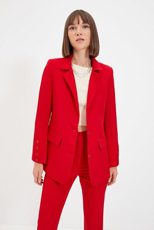 TRENDYOLMİLLA Kırmızı Düğmeli Blazer Ceket TWOAW22CE0165 1