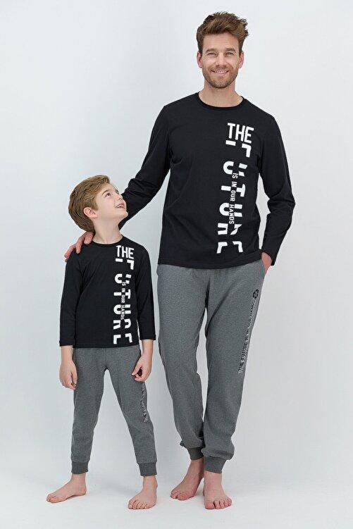 ROLY POLY Erkek Uzun Kol Yazılı Pijama Takımı Baba Oğul Kombin 1