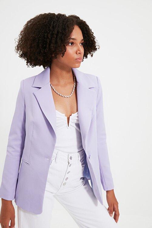 TRENDYOLMİLLA Lila Düğme Detaylı Blazer Ceket TWOSS21CE0011 2