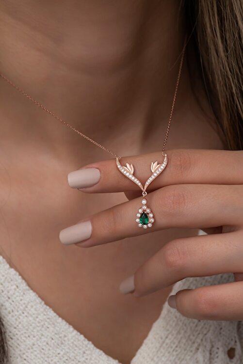 Nereze 925 Ayar Gümüş Yeşil Damla Taşlı Tasarım Kolye Kadın Gümüş Kolye 2