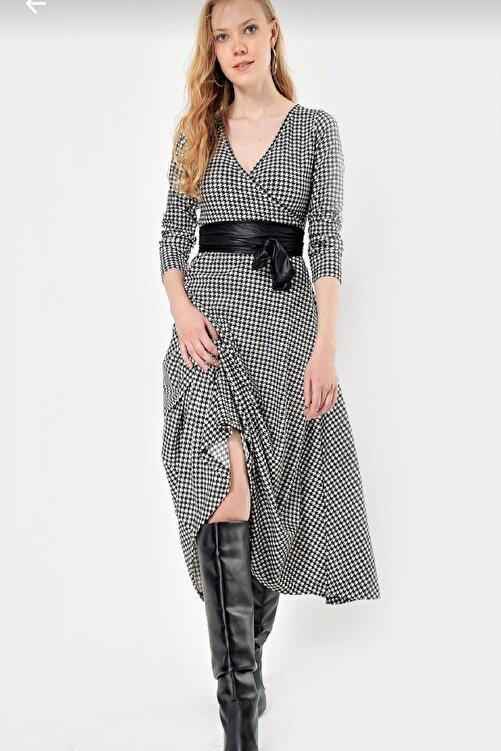 Butik Şımarık Kadın Büyük Beden Kazayagı Desen Süet Kumaş Full Likralı Kemer Dahil Elbise Boy 120cm 2