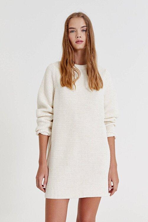 Pull & Bear Uzun Kollu Ters Örgü Elbise 1
