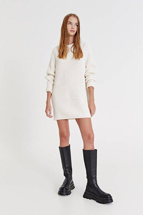 Pull & Bear Uzun Kollu Ters Örgü Elbise 2