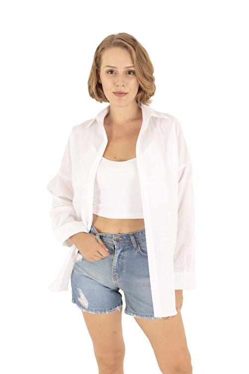 Modagusto Beyaz Oversize Uzun Basic Gömlek 1