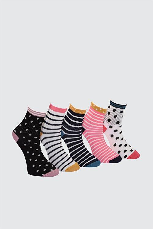 TRENDYOLMİLLA Çok Renkli Baskılı 5'li Paket Örme Çorap TWOAW21CO0138 2