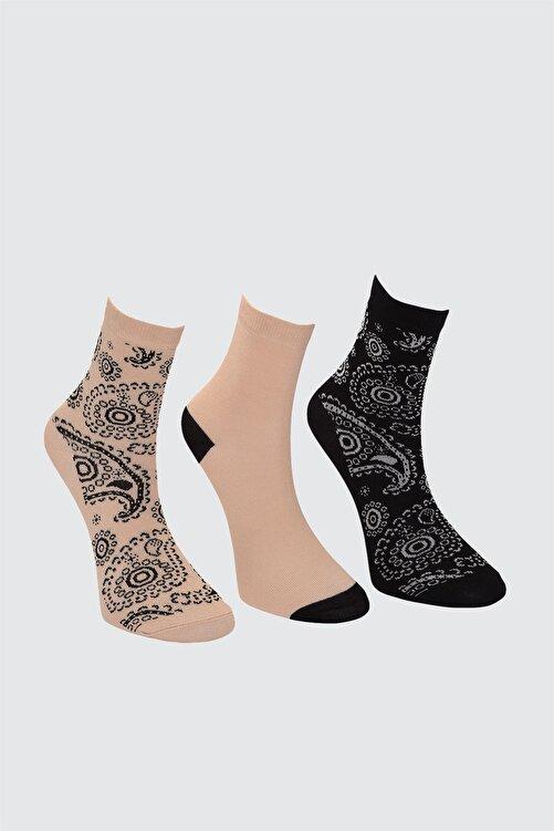 TRENDYOLMİLLA Vizon Baskılı 3'lü Paket Örme Çorap TWOAW21CO0136 2
