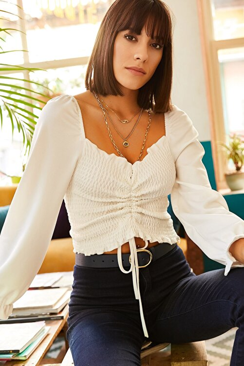 Olalook Kadın Ekru Önü Büzgülü Gipeli Örme Bluz BLZ-19001183 1