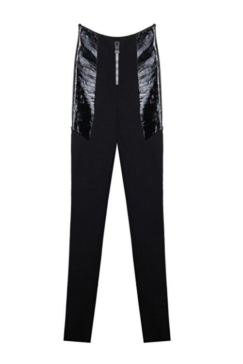 CEREN OCAK Kadın Siyah Deri Detaylı Pantolon 1