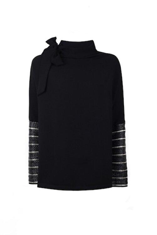 CEREN OCAK Kadın Siyah Yaka Detaylı Bluz 1