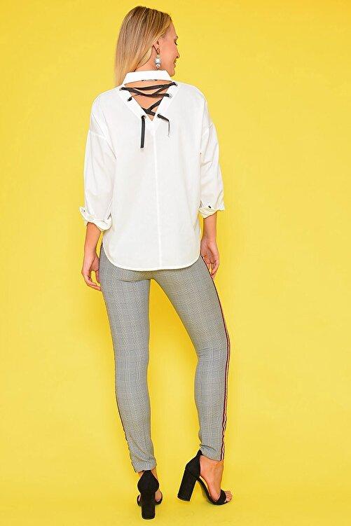 Mossta Kadın Bej Şeritli Ekose Pantolon 2