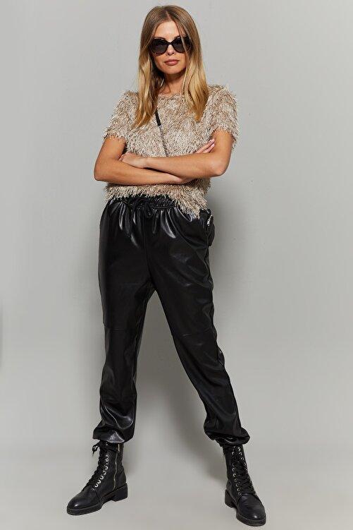Cool & Sexy Kadın Siyah Paçası Lastikli Suni Deri Pantolon BK214032 2