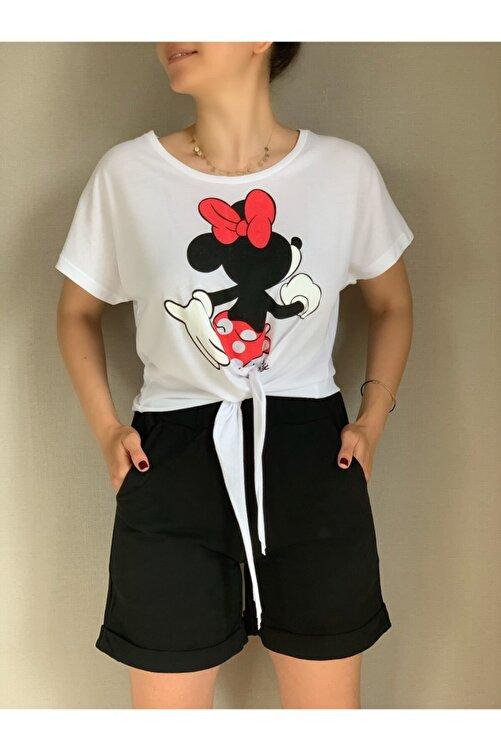 MAIO TASARIM Kadın Siyah Ve Beyaz Mickey Mouse Baskılı Takım 1
