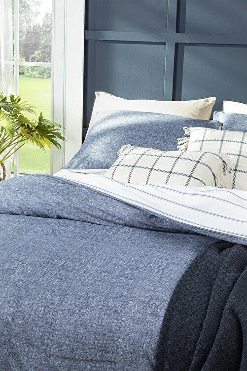 English Home Textured Stripe Pamuklu Çift Kişilik Nevresim Seti 200x220 Cm Lacivert 2