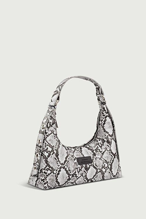 Housebags Kadın Yılan Derisi Desenli Siyah Baguette Çanta 205 2