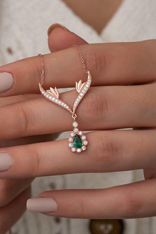Nereze 925 Ayar Gümüş Yeşil Damla Taşlı Tasarım Kolye Kadın Gümüş Kolye 1