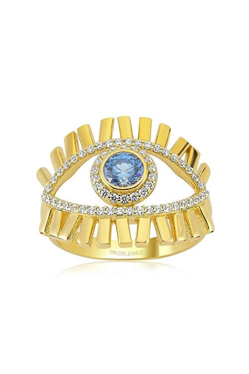 Valori Jewels Mavi Işık Nazar Gözü, Zirkon Mavi Ve Beyaz Taşlı, Altın Rengi Gümüş Yüzük 1