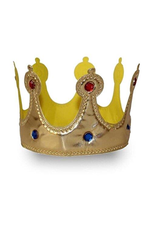 Parti dolabı 1 Adet Gold Altın Rengi Kumaş Kral Tacı, Yumuşak Sünger Erkek Taç 1