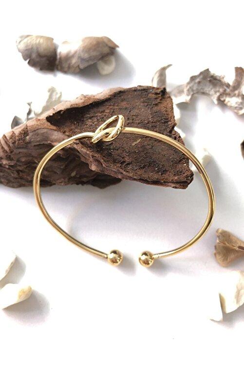 Defne Aksesuar Kadın Altın Kaplama Düğüm Kelepçe Bileklik 2