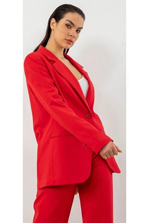 The Ness Collection Oversized Retro Boyfriend Kırmızı Blazer Ceket 2