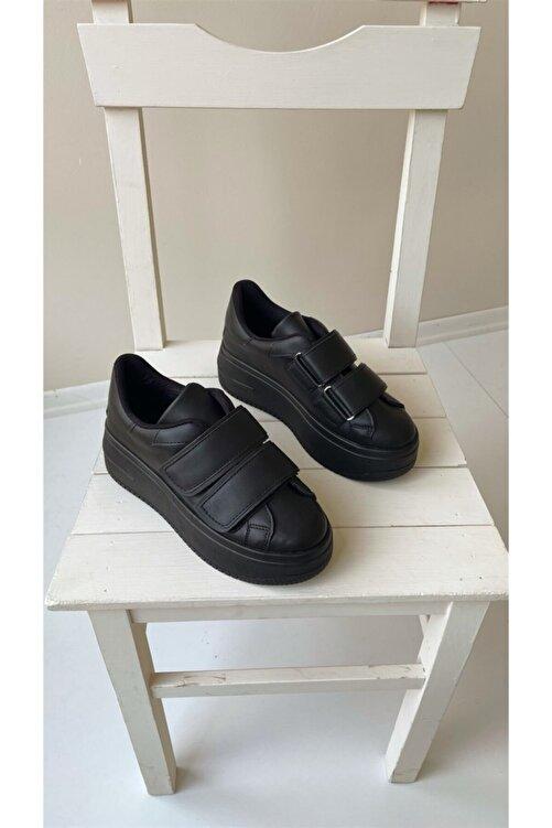 NAVYSIDE Kadın Siyah Cırt Cırtlı Sneaker Spor Ayakkabı-Taban 5 cm-Yürüyüş Ayakkabısı Yüksek Tabanlı Bantlı 2
