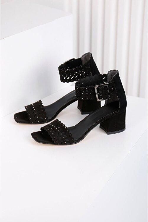 Edvani Ribbon Siyah Taş Kaplama Lazer Kesim Ayakkabı 2
