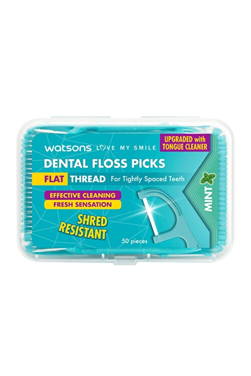 Watsons Flat Thread Dental Floss Picks Mint 50 Adet 1
