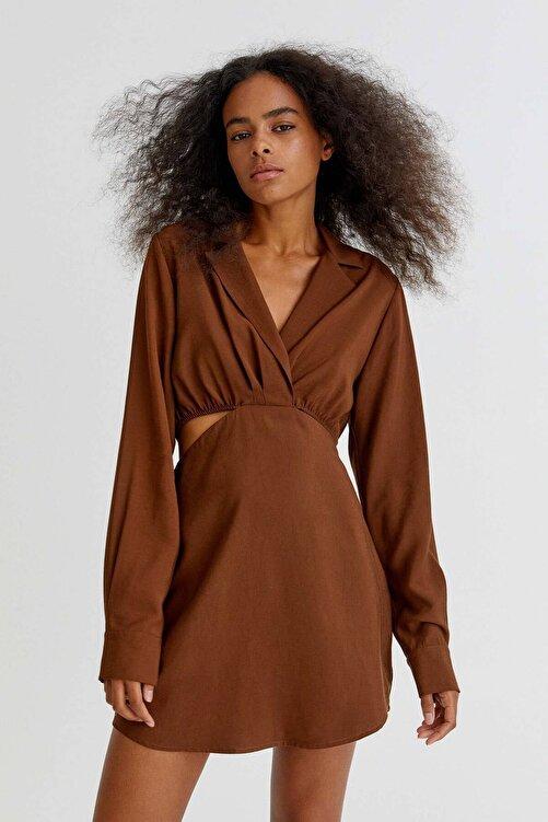 Pull & Bear Pencere Detaylı Kısa Gömlek Elbise 1