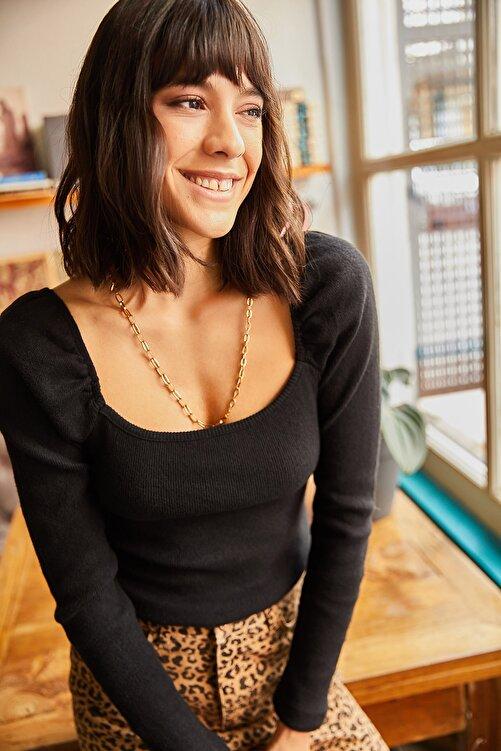 Olalook Kadın Siyah Kare Yaka Likralı Bluz BLZ-19001617 1