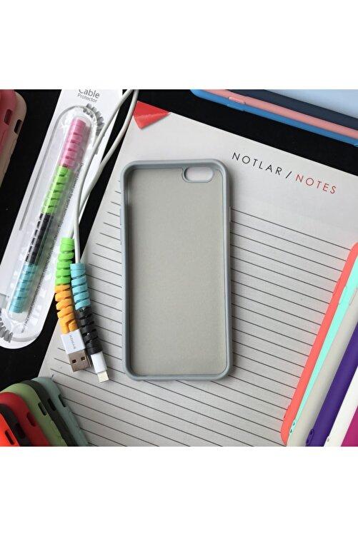 SUPPO Iphone 6 Ve 6s Uyumlu Logolu Lansman Kılıf Ve Kablo Koruyucu Makaron 2