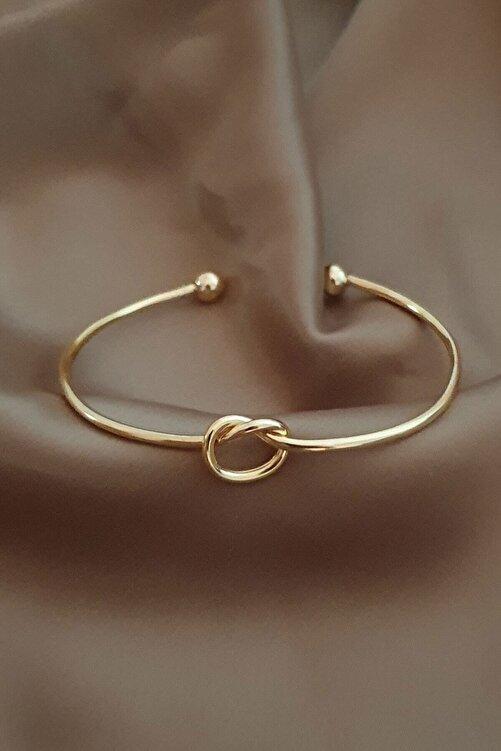 Defne Aksesuar Kadın Altın Kaplama Düğüm Kelepçe Bileklik 1