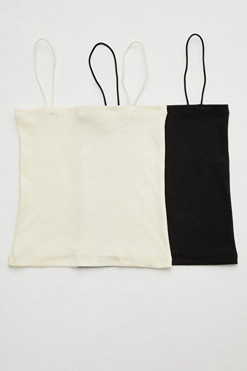 adL 2 ' Li  Set İp Askılı Crop Straplez Bluz 1