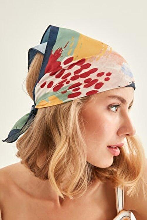 Y-London 13750 Lacivert Kenarlıklı Renkli Bandana Fular 2