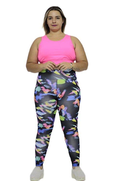 Truva XXL Büyük Beden Kadın Giyim Baskı Detaylı Micro Kumaş Yüksek Bel Dar Paça Tayt Desenli 1